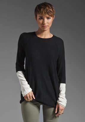 Alexander Wang Long Sleeve Color Block Pullover in Black and Bone