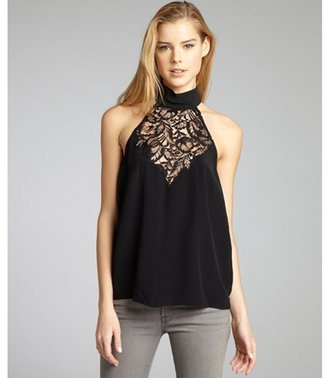 Nicole Miller black black silk woven lace mock neck top