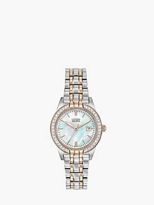 Citizen EW1686-59P Women's Eco-Drive Silhouette Crystal Bracelet Strap Watch, Silver/Gold