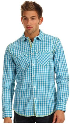 Ecko Unlimited Plaid w/ Stripe L/S Shirt (Deep Turquoise) - Apparel