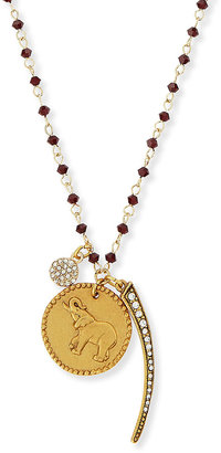 Sequin Elephant, Spike & Disc Talisman Necklace with Dark Red Beads