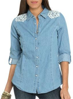 Wet Seal WetSeal Crochet Shoulder Denim Shirt Blue