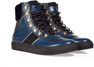 Marc Jacobs Blue/Black Leather and Suede Panelled High Top Sneakers