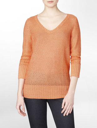 Calvin Klein Sweet Melon 3/4-Sleeve Open Stitch Sweater