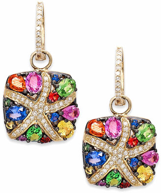 Effy Watercolors by Multicolor Sapphire (3-1/3 ct. t.w.) and Diamond (1/4 ct. t.w.) Starfish Earrings in 14k Gold, Created for Macy's