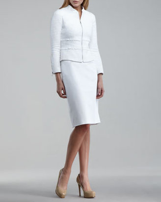 Tahari Ruffled Silk-Linen Suit