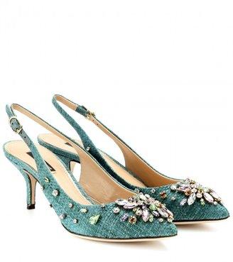 Dolce & Gabbana Bellucci crystal-embellished raffia pumps