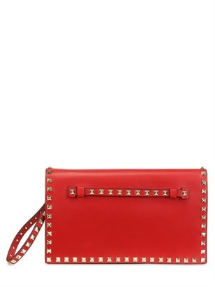 Valentino Medium Rockstud Leather Clutch