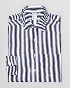 Brooks Brothers Broadcloth Bengal Stripe Non-Iron Dress Shirt - Regent Fit