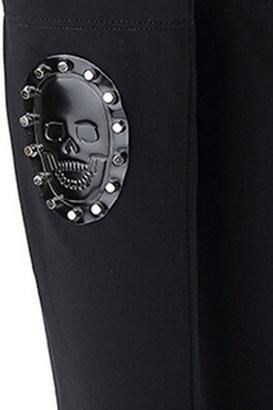 Skull Mask Embellished High Boots
