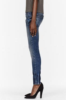 Balmain PIERRE Faded blue low-waist skinny jeans