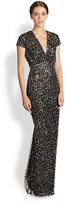 Nicole Miller Sequined-Patterned Tulle Gown