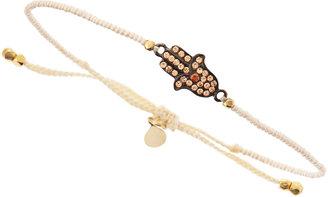 Tai Hamsa-Charm Pearly-Bead Bracelet, Ivory