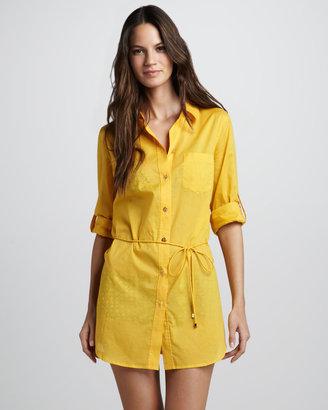 Tory Burch Kayla Lightweight Shirtdress Coverup