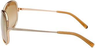 Calvin Klein Women's Round Gold Sunglasses