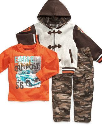 Nannette Kids Set, Little Boys 3-Piece Hoodie, Tee and Cargo Pant Set