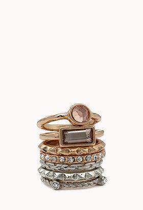 Forever 21 Bejeweled Spiked Stack Ring Set