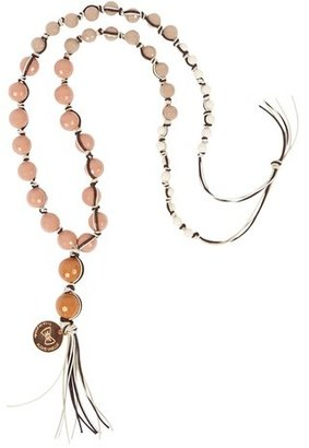 Alexis Mabille Glass Beaded Necklace in Nude