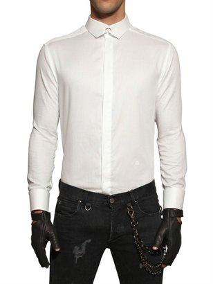 Piercing Collar Cotton Poplin Shirt