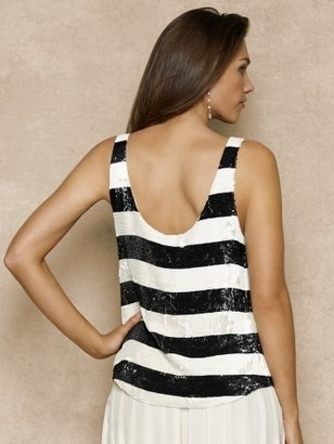 Ralph Lauren Blue Label Sequin-Striped Silk Tank