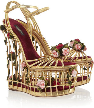 Dolce & Gabbana Rose-embellished metallic leather cage sandals