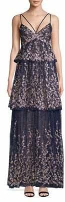 BCBGMAXAZRIA Printed Tiered Gown