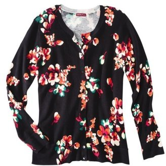 Merona Women's Plus-Size Long-Sleeve Cardigan Sweater - Black/Red/Orange