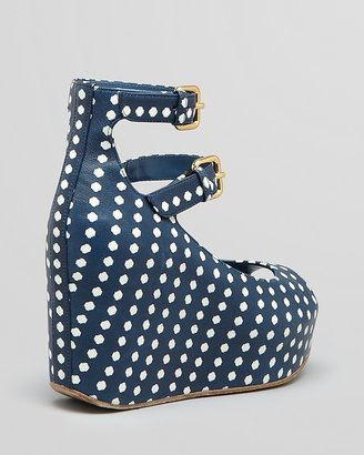 Marc by Marc Jacobs Peep Toe Wedge Pumps - Isabel Dot Print
