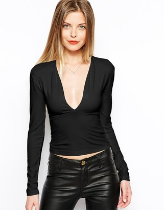 Asos Crop Top with Long Sleeves and Deep Plunge Neck