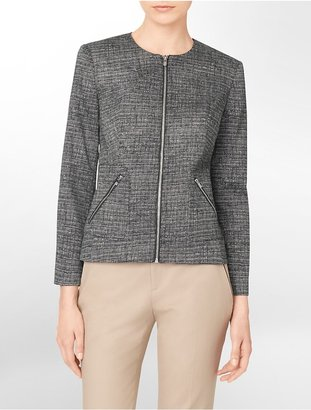 Calvin Klein Exposed Zip Detail Printed Blazer