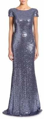 Badgley Mischka Sequin Cowl-Back Gown