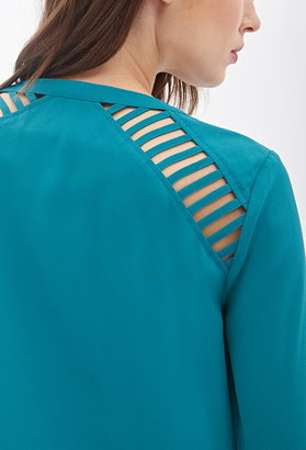 Forever 21 contemporary ladder-cutout chiffon top