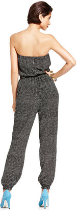 Monroe Marilyn Juniors Jumpsuit, Strapless Printed Harem