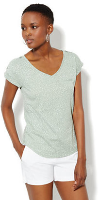 New York & Co. Welt-Pocket Cotton Tee Shirt - Print