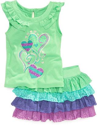 Nannette Little Girls' 2-Piece Glitter-Print Top & Jersey Scooter Skirt Set