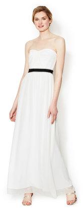 BCBGMAXAZRIA Amber Silk Cascade Strapless Gown