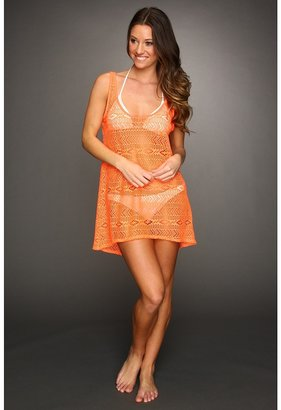 Hurley One Only Solids Scoop Neck Crochet Cover Up (Orange) - Apparel