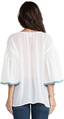 Plenty by Tracy Reese Embroidered Flutter-Sleeve Peasant Blouse