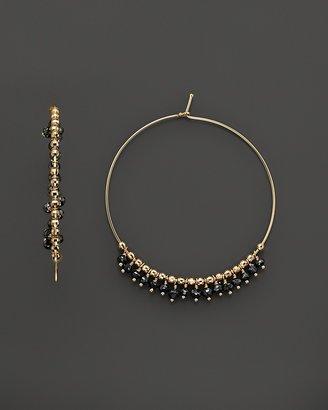 Mizuki 14K Yellow Gold Medium Hoop Earrings with Faceted Black Diamond Beads