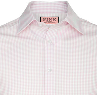 Thomas Pink Gingham Check Classic Fit Double Cuff Shirt