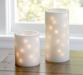 Pottery Barn Flameless Embedded String Light Pillar Candles