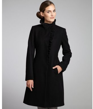 DKNY black wool blend ruffle front coat