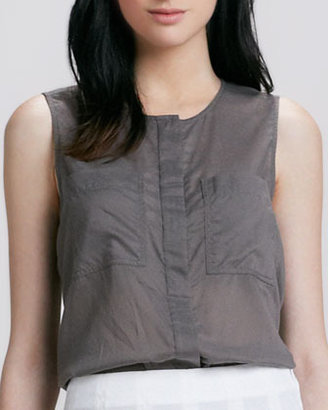 Theory Eriel Crepe Pocket Blouse
