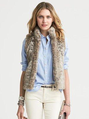 Banana Republic Leopard Faux-Fur Vest