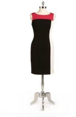 Tahari ARTHUR S. LEVINE Ponte-Knit Colorblocked Sheath Dress