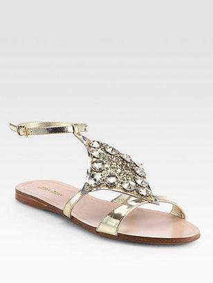 Miu Miu Jeweled Glitter & Metallic Leather Sandals