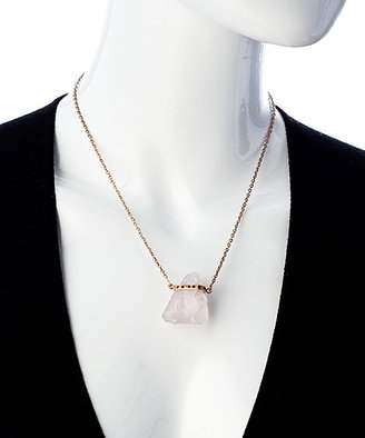 Didi Jewellery Rose Gold Rose Quartz And Cz Sovereign Crystal Pendant