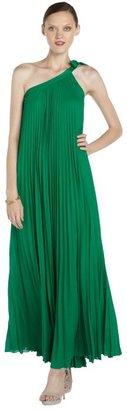 BCBGMAXAZRIA malachite green georgette pleated 'Abee' one-shoulder gown