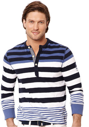 Nautica Shirt, Long Sleeve Striped Henley Shirt