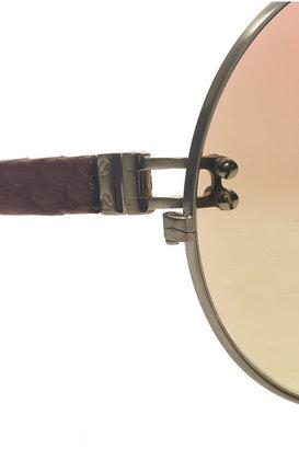 Linda Farrow Metal and watersnake teashade sunglasses